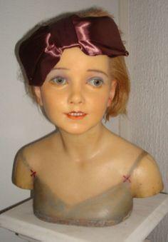 Antique wax mannequin bust