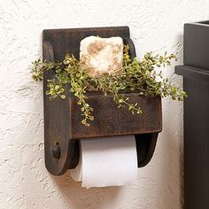 Single Toilet Paper Holder in Black - decorative and functional!