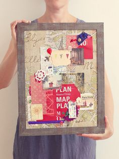 Paris Original Mixed Media Collage by DecorshopSu on Etsy- would be cute to do for every vaycay