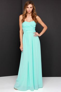 Lulus Exclusive! Be the center of attention and the queen of the scene in the Royal Engagement Strapless Aqua Maxi Dress! This soft chiffon maxi dress has elegant panels crisscrossing over a sweetheart bodice (with lightly padded cups), creating a gorgeous pairing with the long flowing maxi skirt that drapes from gathering at the waist. Hidden back zipper.