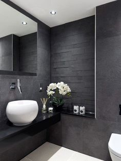 Get inspired with these gray bathroom decorating ideas. Restroom ideas, Gray bathroom walls, Half bathroom decor,Grey bathrooms inspiration, Classic grey bathrooms and Images of bathrooms. Grey Modern Bathrooms, Grey Bathroom Interior, Dark Bathrooms, Guest Bathrooms, Modern Bathroom Design, Amazing Bathrooms, Bathroom Designs, Bathroom Ideas, Bathroom Grey
