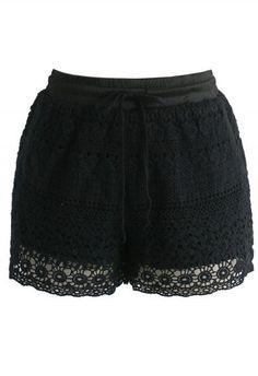 Boho Weekend Crochet Shorts in Black