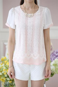 Aurora Short-Sleeve Lace Panel Chiffon Top | YESSTYLE