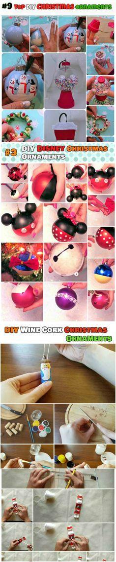 DIY Christmas Ornaments: 1.Glass and Ball Ornament 2.Disney Ornaments 3.Wine Cork Ornaments 4.Easy Kids Ornaments 5.Rustic Christmas Ornaments
