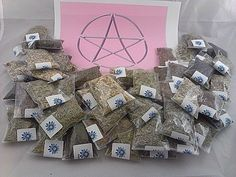 "Lisa's Creations, Inc 50 Herb Sampler Kit with charcoal, White Sage wand, and handmade 3"" x 3"" muslin bag"
