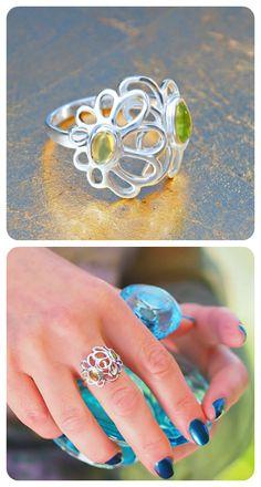 Ring  ||  Sterling Silver, Natural Green Peridot  ||