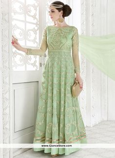 Compelling Embroidered Work Georgette Sea Green Floor Length Anarkali Suit