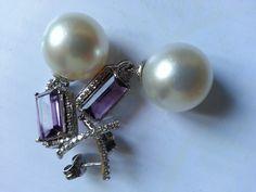 South sea pearls ,amethyst and diamond earrings. Pendientes de perlas australianas con amatistas y diamantes