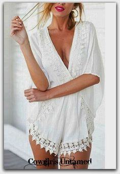 WILD FLOWER ROMPER White Lace Crochet Trim Deep V Neck Boho Shorts Romper Cover Up COWGIRLS UNTAMED ~ Fashion For Your Cowgirl Gypsy Rebel Soul www.cowgirlsuntamed.com