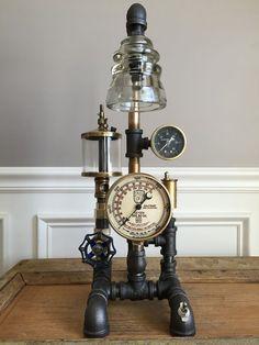 Steampunk Lamp: Vintage Oiler, Brass Gauges, Industrial Art, Glass Insulators