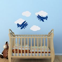 Airplane Wall Decal Boy Nursery Wall Decal Cloud Wall by PonyDecal