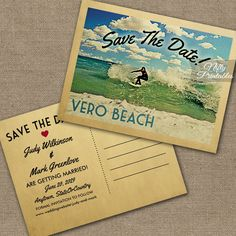 Vero Beach Florida Save The Date Surfing PRINTED