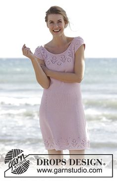 "Beach Date / DROPS 167-1 - Knitted DROPS dress with round yoke and lace pattern, worked top down in ""Muskat"". Size: S - XXXL."