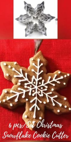 Easy Christmas Cookies Decorating, Snowflake Christmas Cookies, Snowflake Cookie Cutter, Christmas Cookie Cutters, Christmas Sugar Cookies, Christmas Sweets, Christmas Baking, Cookie Decorating, Christmas Mood