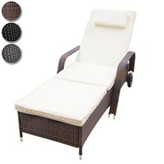 Miadomodo Polyrattan Sun Lounger (ca. 205/65/32 cm) Recliner Bed Chair Garden Furniture (Brown)  Price Β£98,28