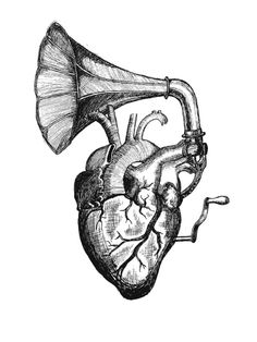 Tattoo draw. Heart - Gramophone.  intimate, deep, intense