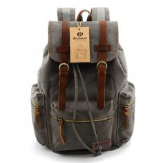 Canvas Vintage Backpack Men Rucksack Bookbag Leather