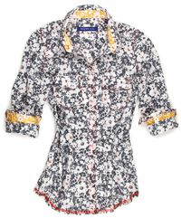 Audrie B80012-723 Long Sleeves   The art of Fashion!  Refresh your wardrobe with this fun Liberty of London multicolor fantasy floral long sleeve blouse. Detailed with a yellow flower print inside the collar stand and inside cuffs. All seams are done to perfection with contrast stitching in red.   100% Cotton