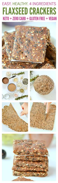 Healthy Snacks Flaxseed crackers KETO, g net carb per crackers, Paleo healthy Rosemary Garlic Sesame Crackers made of 4 simple ingredients. Gluten Free Recipes, Low Carb Recipes, Whole Food Recipes, Snack Recipes, Donut Recipes, Ketogenic Recipes, Recipes Dinner, Pie Recipes, Vegetarian Recipes