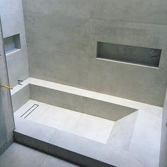 Roman Bathroom, Jacuzzi Bathroom, Bathroom Renos, Master Bathroom, Bathroom Renovations, Concrete Bathtub, Sunken Bathtub, Bathtub Tile, Upstairs Bathrooms