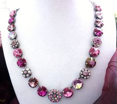 Swarovski crystal 12mm choker, pretty in pink, one of a kind siggy design, GREAT PRICE on Etsy, $139.00