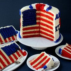 Flag cake sandwich original, flag cake, of july party, fourth o Fourth Of July Cakes, 4th Of July Desserts, Fourth Of July Food, 4th Of July Party, July 4th, Sandwich Original, Cake Cookies, Cupcake Cakes, Flag Cake