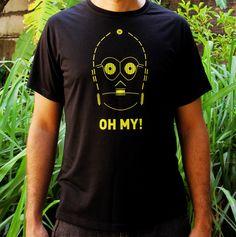 Camiseta C3PO inspirada na saga Stars Wars, produzida no Brasil. Com conceito Slow Fashion tem edição limitada.