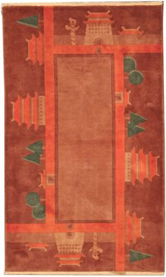 A Chinese Deco rug - by Doris Leslie Blau. The open brown field of this Chinese art deco rug is framed by a broad dark red border with whimsical landscape motifs. ...