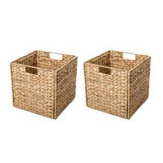 New Hyacinth Foldable Storage Wicker Basket with Iron Wire Frame (Set of by Highland Dunes. storage-sale from top store Cube Storage, Storage Baskets, Easy Storage, Storage Ideas, Cube Shelves, Cabinet Storage, Indoor Bike Storage, Do It Yourself Organization, Driven By Decor