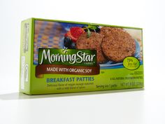 Morningstar Farms breakfast patties made with organic soy http://www.prevention.com/health/health-concerns/100-cleanest-packaged-food-awards-2013-breakfast/slide/29