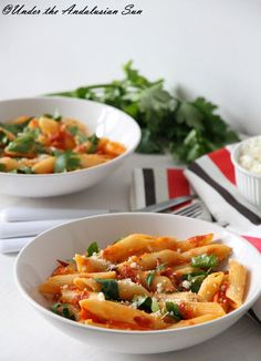 Penne Arrabbiata. Simple, easy, pasta, chilli, garlic... and chorizo (though optional!) - what else could you want :-)?