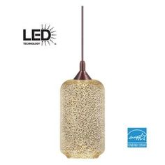 Home Decorators Collection Bronze LED Pendant with Mercury Crackle Glass Shade 7226 at The Home Depot - Mobile