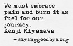 .We must embrace pain and burn it as fuel for our journey - Kenji Miyazawa