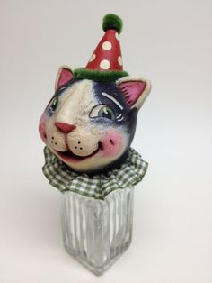 Kittys Treats Candy/Treasure Container by Alycia Matthews, OOAK, Paper Clay, One of a Kind, Original