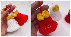 Crochet Christmas Wreath, Crochet Ornaments, Christmas Bells, Christmas Wreaths, Christmas Crafts, Crochet Santa Hat, Crochet Hats, Learn To Crochet, Easy Crochet