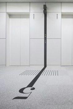 Flooring: Spaces, Signs and Senses Lift Lobby Signage Wayfinding Signage, Signage Design, Typography Design, Floor Signage, Banner Design, Commercial Design, Commercial Interiors, Design Entrée, Front Design