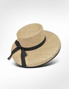 Borsalino - Women's Black Ribbon Straw Hat $160