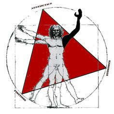 E-fab Man - part Vitruvian man, part Modular Man, a balance of right and left brain ... #architect #efab
