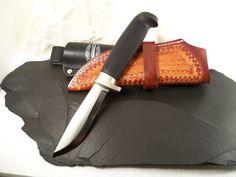 Marttiini inox Hunting Knife w Custom hand tooled by rekamepip, $56.00