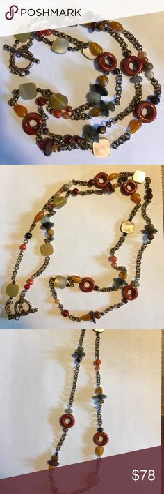 "SALE❤️ Handmade artisan beaded chain necklace 48"" Stunning Handmade artisan beaded chain necklace 48"". Long enough to wrap twice or even three times! Vintage brass chain double link with mother of pearl, labradorite, imperial jasper, porcelain taking finished, faux amber and glass beads. Antique toggle clasp. Jewelry Necklaces"