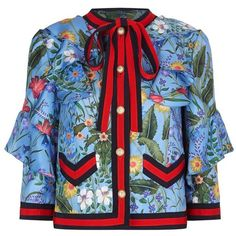 Gucci Floral Print Ruffled Silk Jacket (11.995 RON) ❤ liked on Polyvore featuring gucci