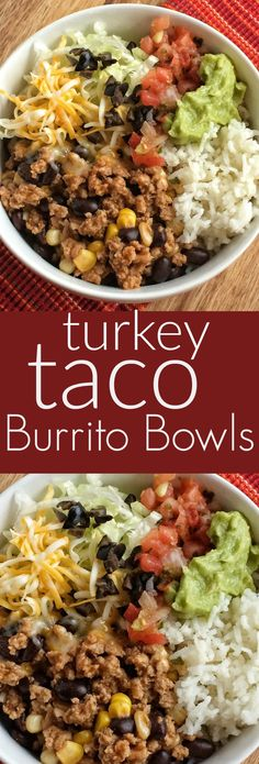 Taco Burrito Bowls Turkey taco meat with beans and corn simmers on the stove top. Make a burrito bowl with rice and taco toppings!Turkey taco meat with beans and corn simmers on the stove top. Make a burrito bowl with rice and taco toppings! Healthy Dinner Recipes, Mexican Food Recipes, Healthy Snacks, Healthy Eating, Cooking Recipes, Vegan Meals, Easy Cooking, Mexican Bowl Recipe, Healthy Supper Ideas
