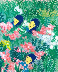 お花畑でGirls take a short break in a flower garden