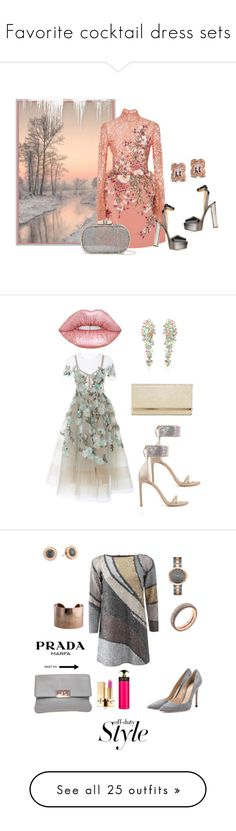 """""""Favorite cocktail dress sets"""" by deborah-518 ❤ liked on Polyvore featuring Georges Hobeika, Giuseppe Zanotti, Natasha Accessories, Marchesa, Lime Crime, Cielle London, Jimmy Choo, Stuart Weitzman, Marc Jacobs and Gianvito Rossi"""