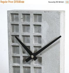 This clock is made in USA of Gray color concrete for a stunningly clean and natural appearance.The clock is free standing and comes with a silicon