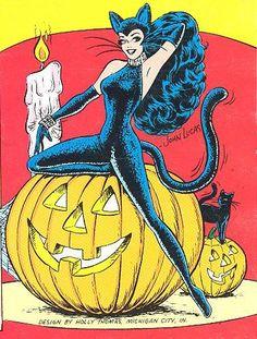 Katy Keene Cat Woman vintage Halloween pin up illustration. Halloween Pin Up, Retro Halloween, Spooky Halloween, Happy Halloween, Vintage Comics, Vintage Art, Images Halloween Vintages, Pulp, Bizarre