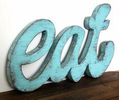 Wood Retro Kitchen or Restaurant Sign EAT. $54.00, via Etsy.