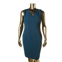 T Tahari Womens Dakota Faux Leather Trim Sleeveless Wear to Work Dress