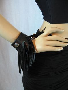 2 Black Leather Fringe Bracelets Wristband Cuff by Vacationhouse, $38.00