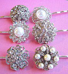 Wedding Hair Pins,Set of 6, Brides Maids Bundle, Vintage Style,  Silver, Rhinestones, Crystal, Pearls #weddingpartygifts